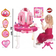 Specchiera Giocattolo per Bambine specchi Acconciature con Accessori luci e Suoni Altezza 70 cm. co