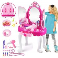Specchiera Giocattolo per Bambine con Sgabello  Principessa con Accessori luci e Suoni h.70 cm